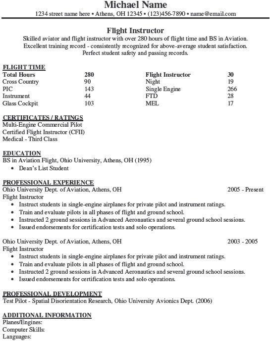 Pilot Resume Examples Professional Pilot Resume Template