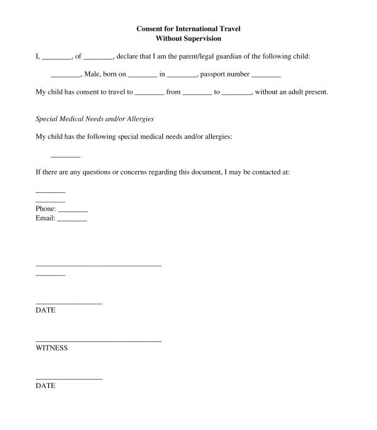 Permission To Travel Letter Template If A Child Under The Age Of - travel consent form sample