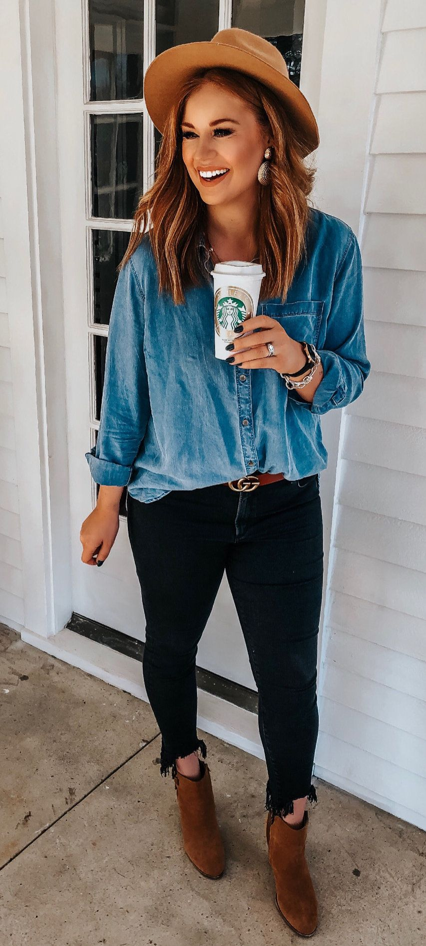 blue chambray sports shirt and black pants outfit #spring #outfits