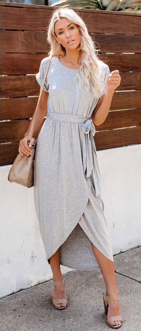 gray scoop-neck dress #spring #outfits