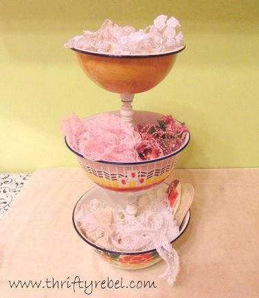 How to Make an Enamel Bowl Tiered Stand