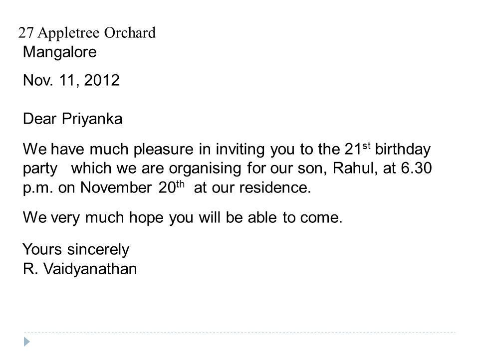 Birthday Invitation Letter Sample Birthday Invitation Letter Free   Example  Of Invitation Letter