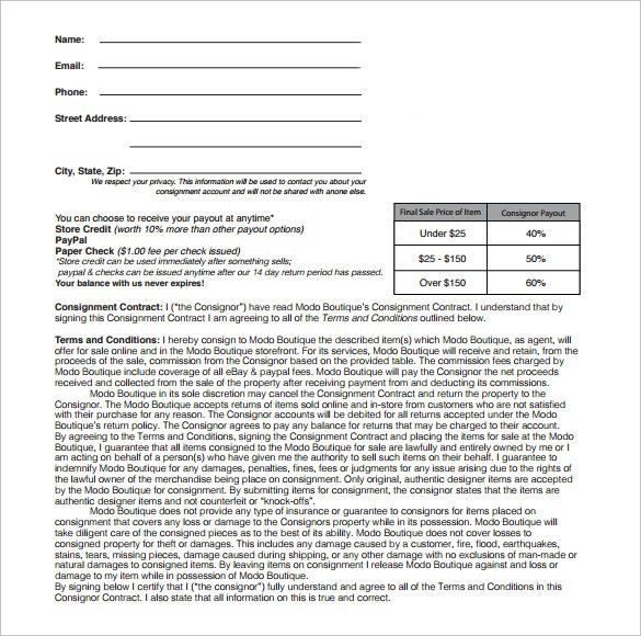 Consignment Template Consignment Contract Template 4 Free Word - consignment form template
