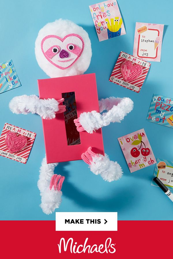 Sloth Valentine's Day Card Box - This… is… the… best… Valentine's… Day… card… box… ever! At least, that's what this sweet sloth says! Take a look at the supplies and instructions below to learn how to make your own fuzzy cutie.