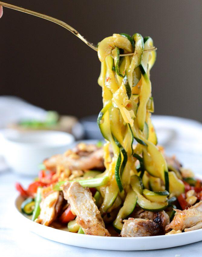 Thai Drunken Zucchini Noodles with Spicy Honey Chicken. - How Sweet Eats