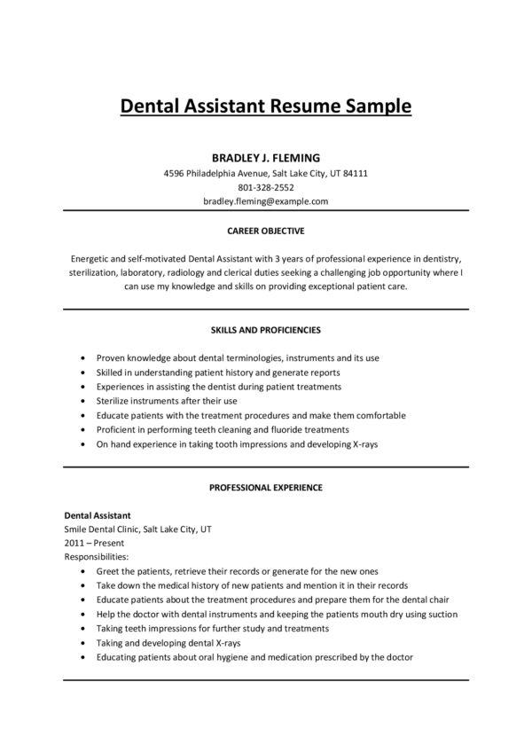 Resume Objective For Dental Assistant