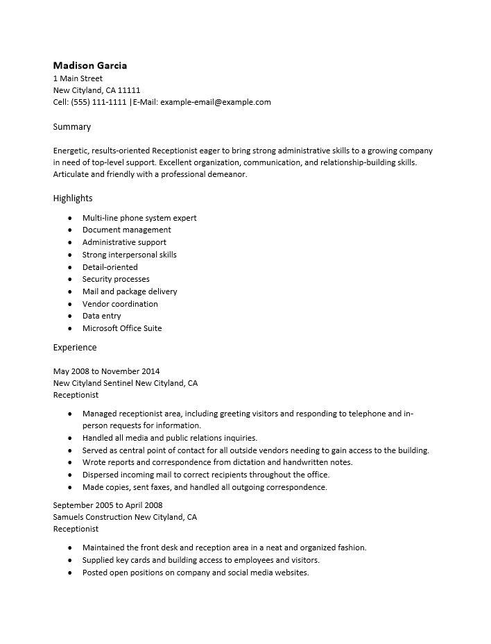 Medical Receptionist Resume Sample Medical Receptionist Cv - medical office receptionist resume