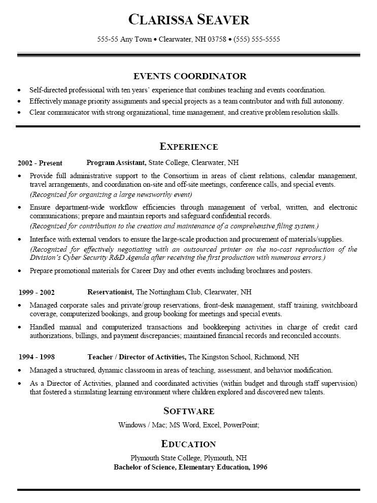 sample special events coordinator resume events manager resume