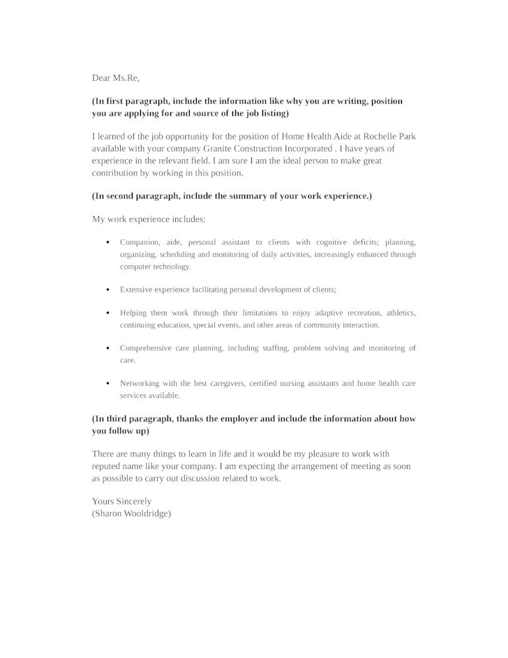 Health Care Aide Cover Letter Health Care Aide Cover Letter 10668 - personal assistant cover letter