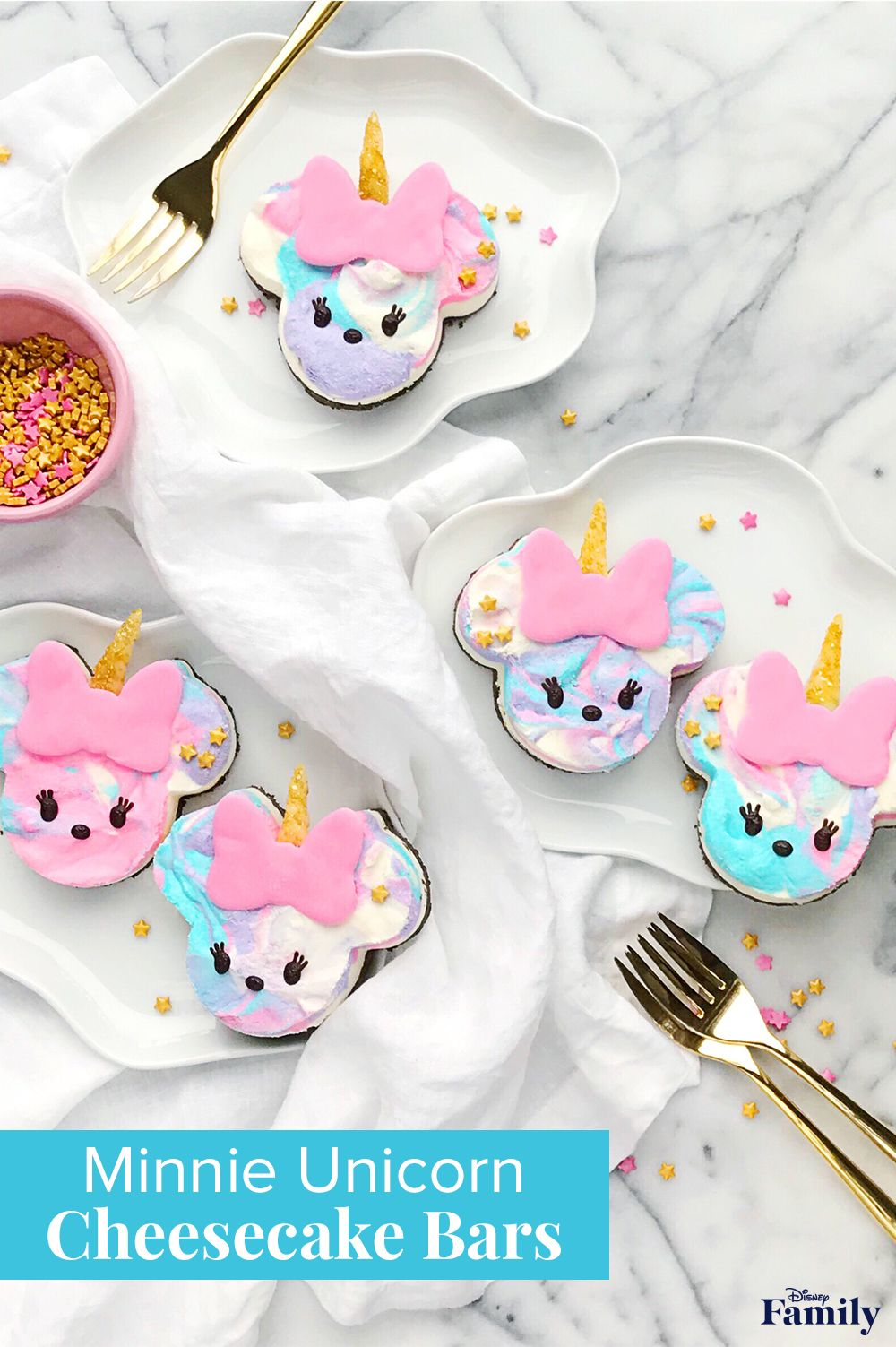 No-bake Minnie Unicorn Cheesecake Bars are a magically delicious treat that are as simple as they are sweet. They only take a few minutes to put together and can be made ahead. Click to see the tasty Minnie recipe.