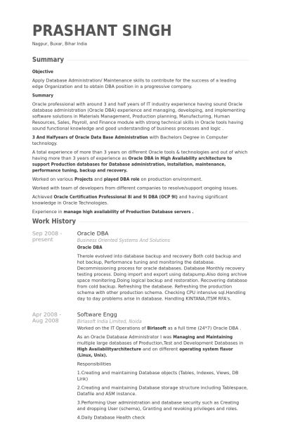Oracle Dba Resume Example - Examples Of Resumes