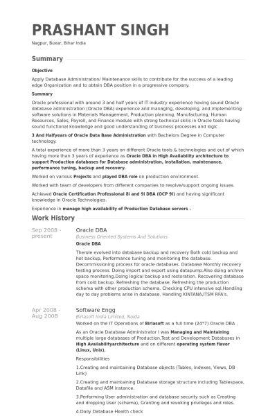 Sample Resume For Oracle Dba Dba Resume Example, Database - sample database administrator resume