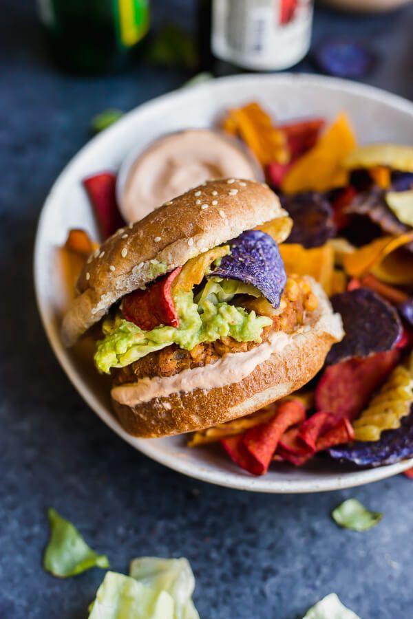 Vegan Guacamole Crunch Burgers
