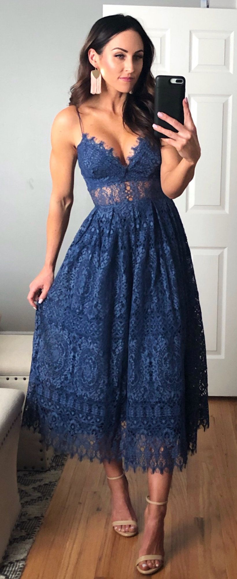 blue lace spaghetti strap dress #spring #outfits