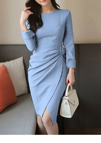 Cute light blue dress with a nice bag