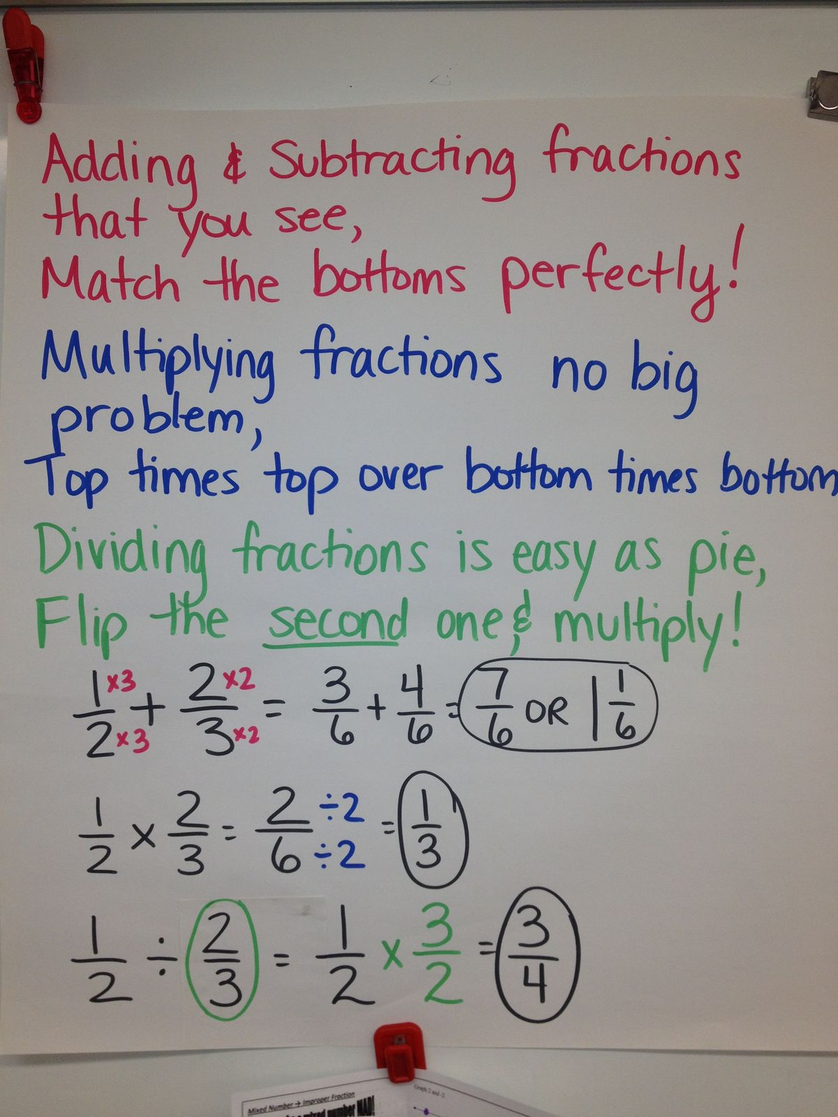 fraction poem more fractions operations chart verse fractions homework ...