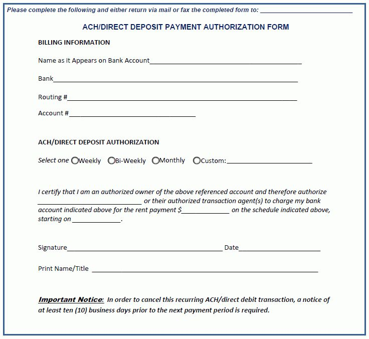Ach Form Template Ach Form Template Enderrealtyparkco Ach Forms