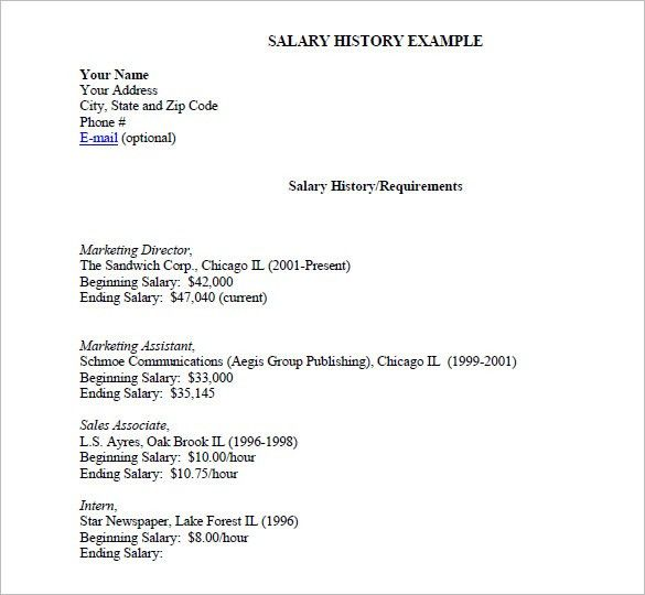 Cover Letter With Salary History Example Sample Resume Cover