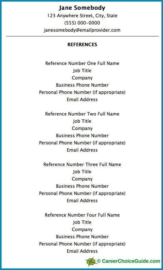 Reference Page Example Sample Reference Sheet 8 Examples Format