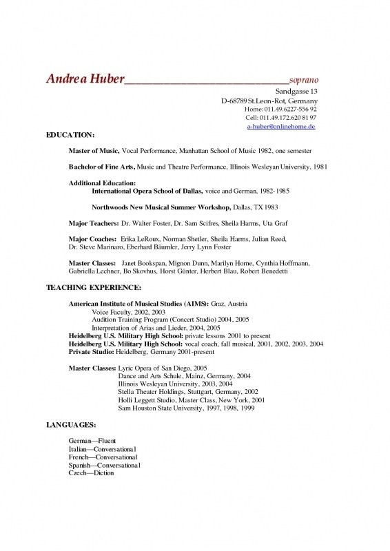 Music Resume sample music resume for college application music - musical theatre resume template