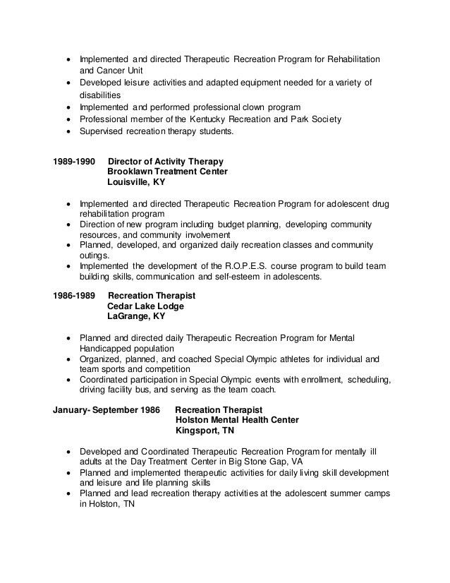 Therapeutic Recreation Specialist Sample Resume ...