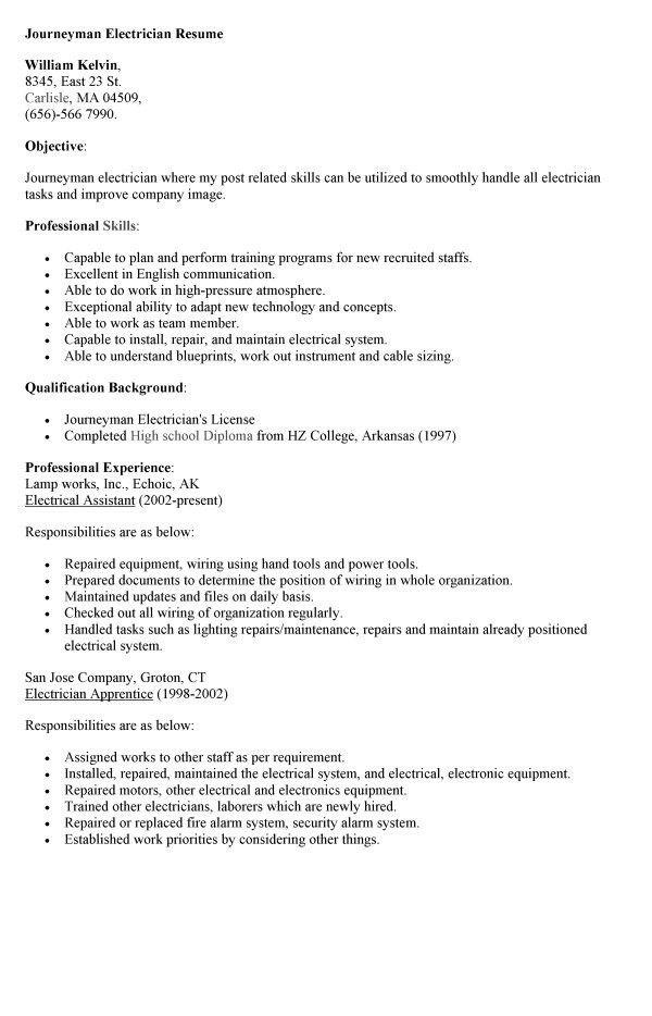 Resume For Apprentice Electrician Unforgettable Apprentice - master electrician resume