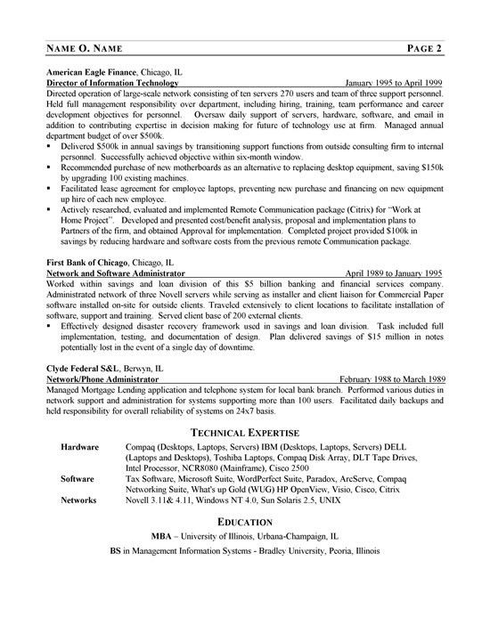 cto resume examples