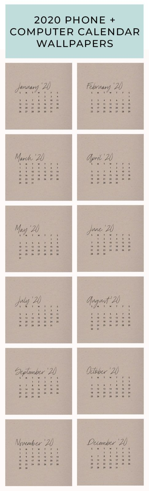 Free 2020 Calendar Wallpapers for your Phone + Desktop PLUS free printable 2020 Calendars   by Thyme is Honey