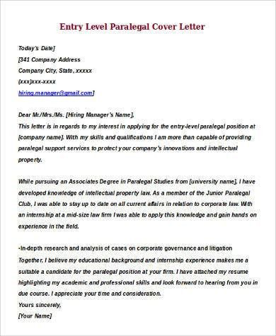 Paralegal Cover Letters Best Letter Examples  Paralegal Cover Letter Examples
