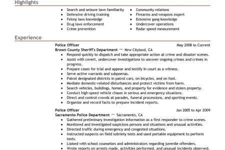 Warrant Officer Resume Examples Warrant Officer Resume Review  Police Officer Resume Examples
