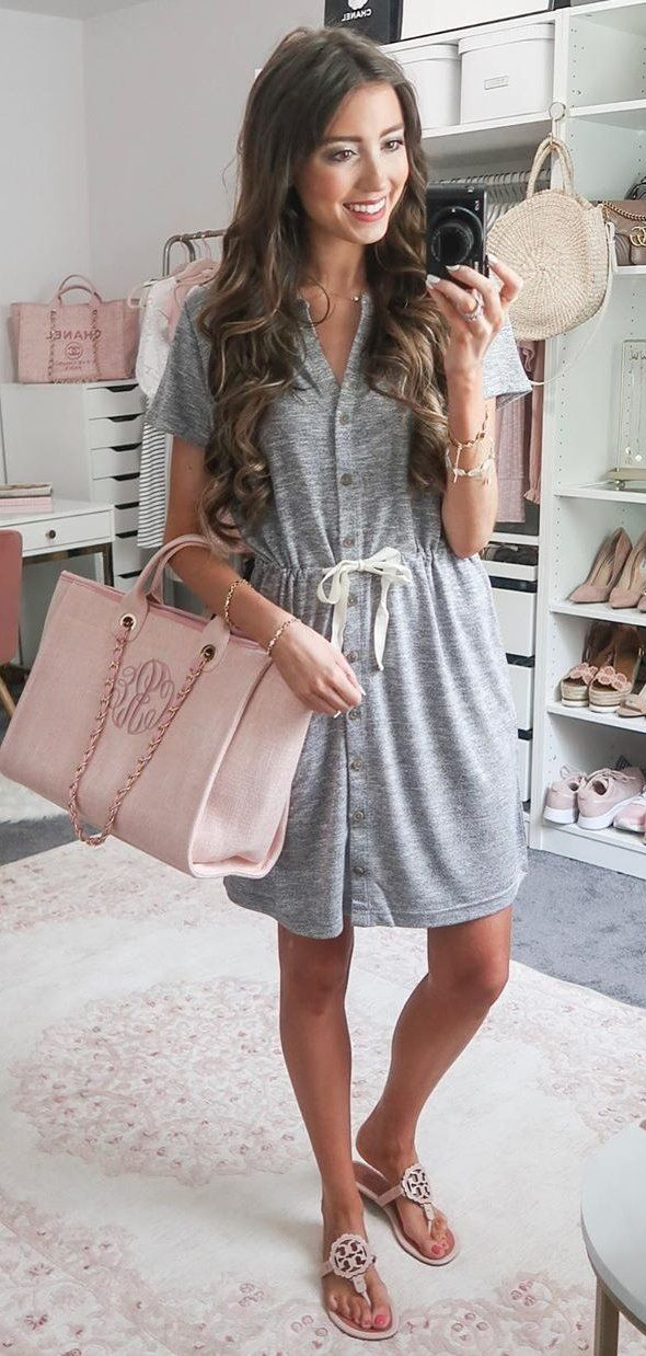 blue cap-sleeved dress #summer #outfits