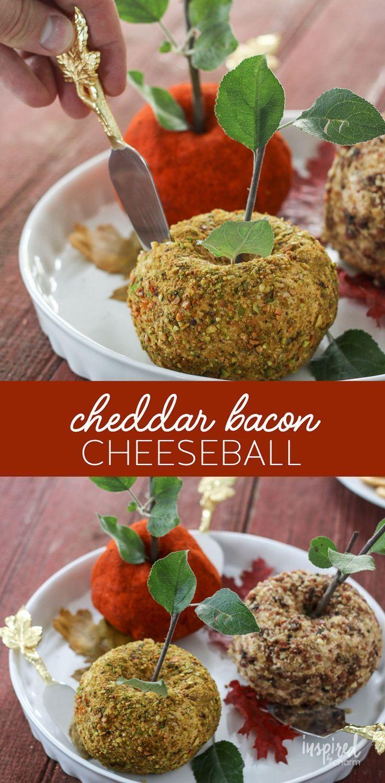 Cheddar Bacon Cheeseball - appetizer recipe (Apple-Shaped)