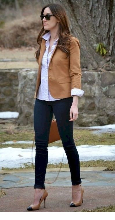 Brown blazer, shirt and jeans