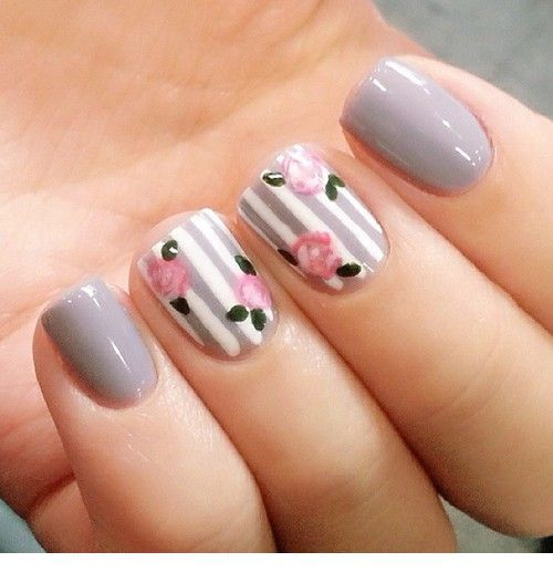 Sweet floral nails boho chic