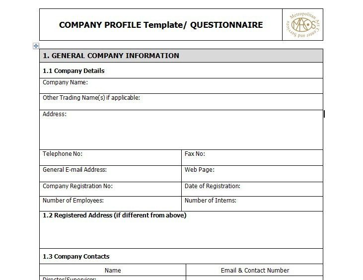 Sample Of A Company Profile Format Sample Company Profile Sample - business profile template