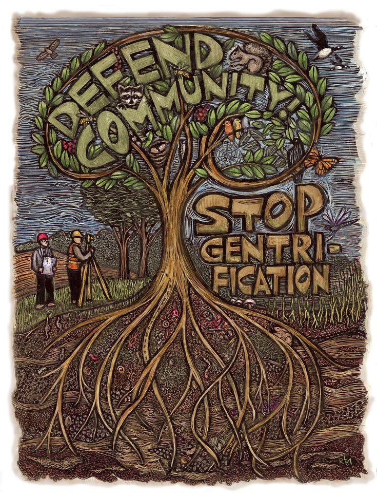 """""""Defend Community"""" Social Justice Art by Ricardo Levins Morales."""