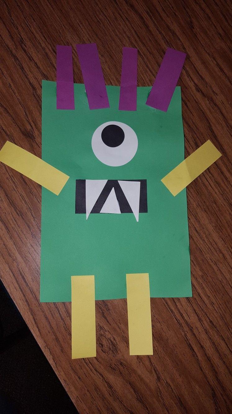 Rectangle Monster Craft Preschool Art Activities
