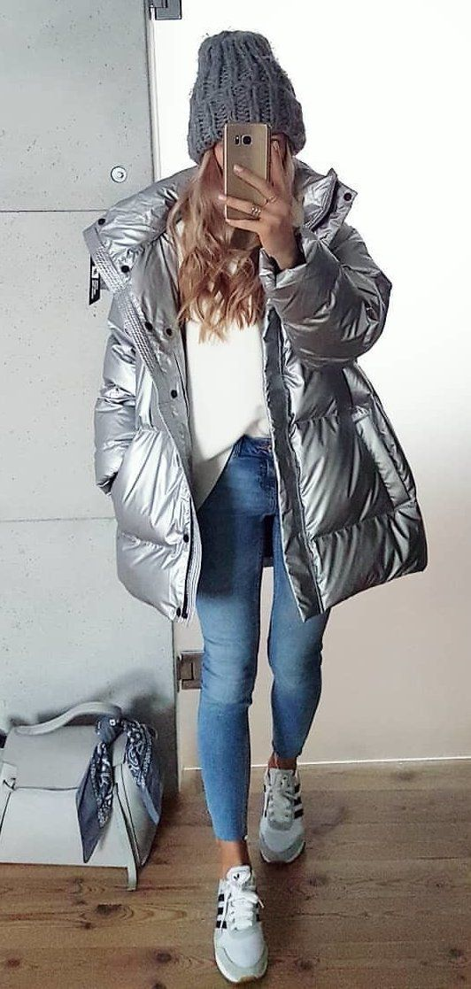 blue bubble coat #spring #outfits