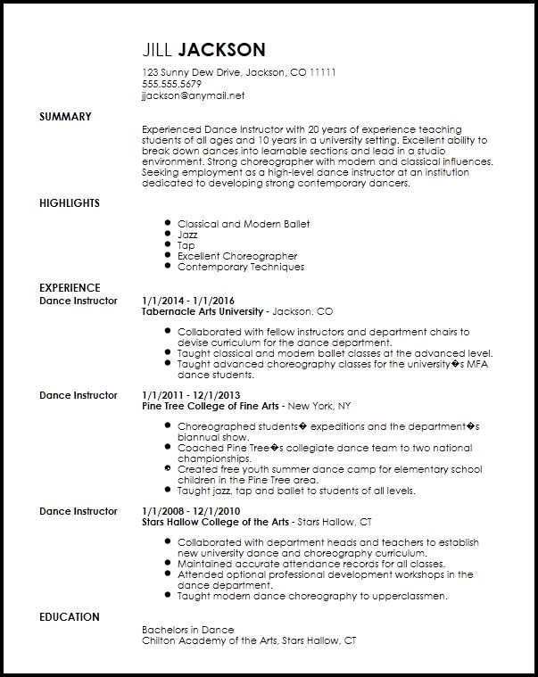 Dancer Resume Template Dancer Resume Template 6 Free Word Pdf - dance resume for college