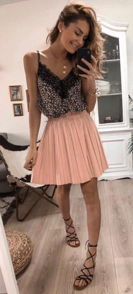 black and peach sleeveless minidress #spring #outfits