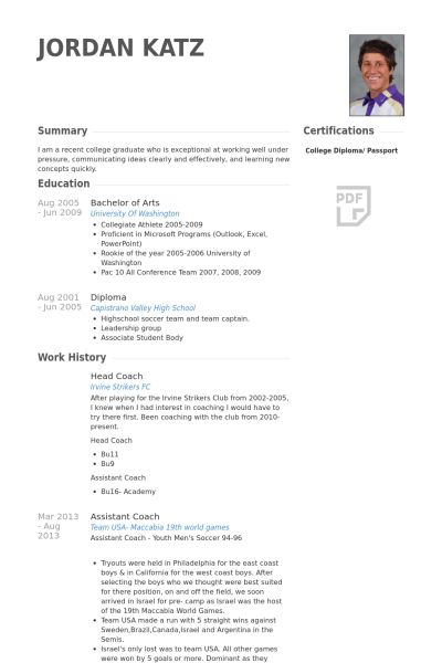 Coach Resume Example Coach Resume Example Sample Head Coach