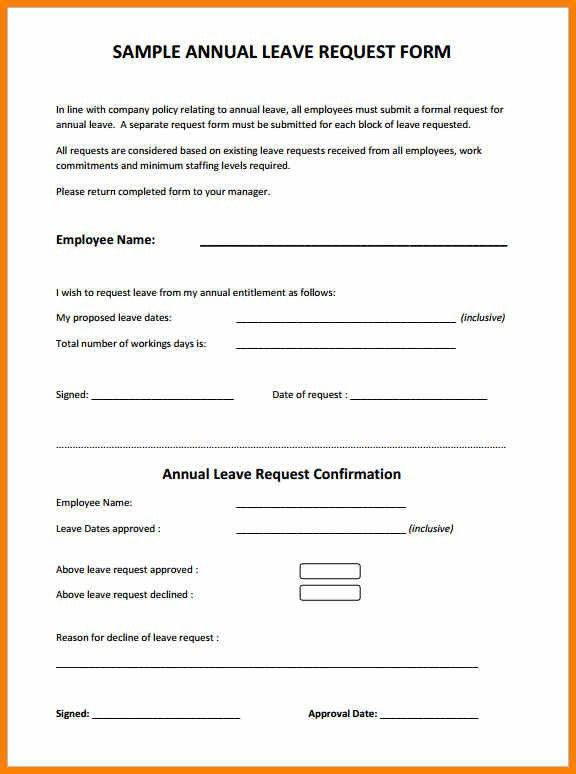 Leave Application Form Request For Time Off Form Annual Leave - example of leave form