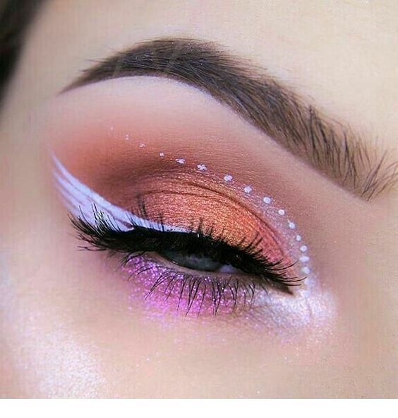 Special eye makeup with white details
