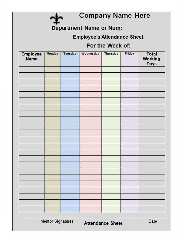 Office Attendance Sheet Excel Free Download Attendance Sheet For - attendance sheet template word
