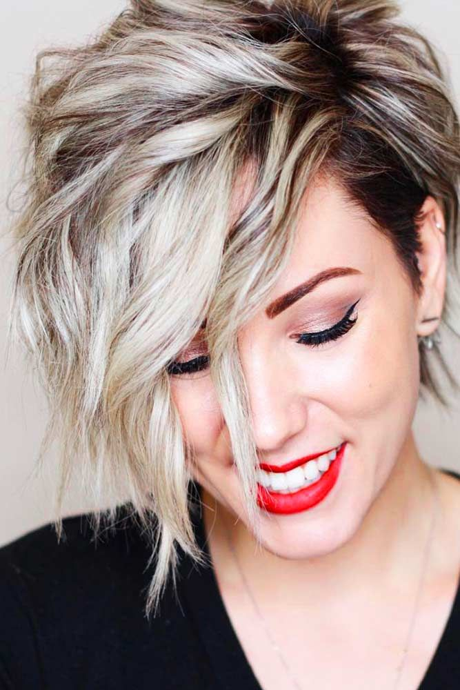 Super Short Wavy Bob Hairstyle #wavyhair #shorthair ★ Wavy, straight asymmetrical bob hairstyles for short and medium hair without and with bangs can be found in our gallery. Be edgy and stylish! #glaminati #lifestyle #asymmetricalbob