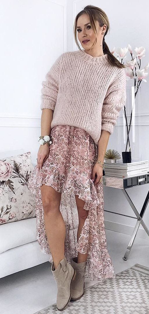 beige sweater and pink and white floral skit #spring #outfits