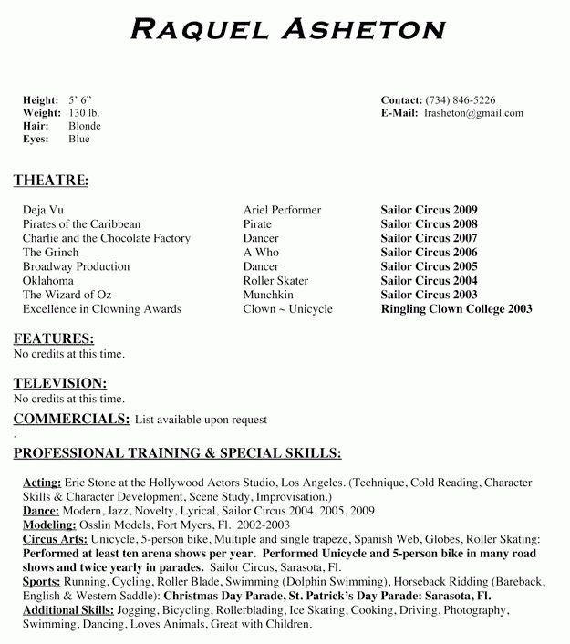 Child Actor Resume Format Child Actor Sample Resume Child Actor - theatrical resume format