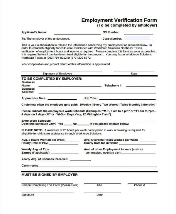 Verification Of Employment Form Template Verification Of - income verification form