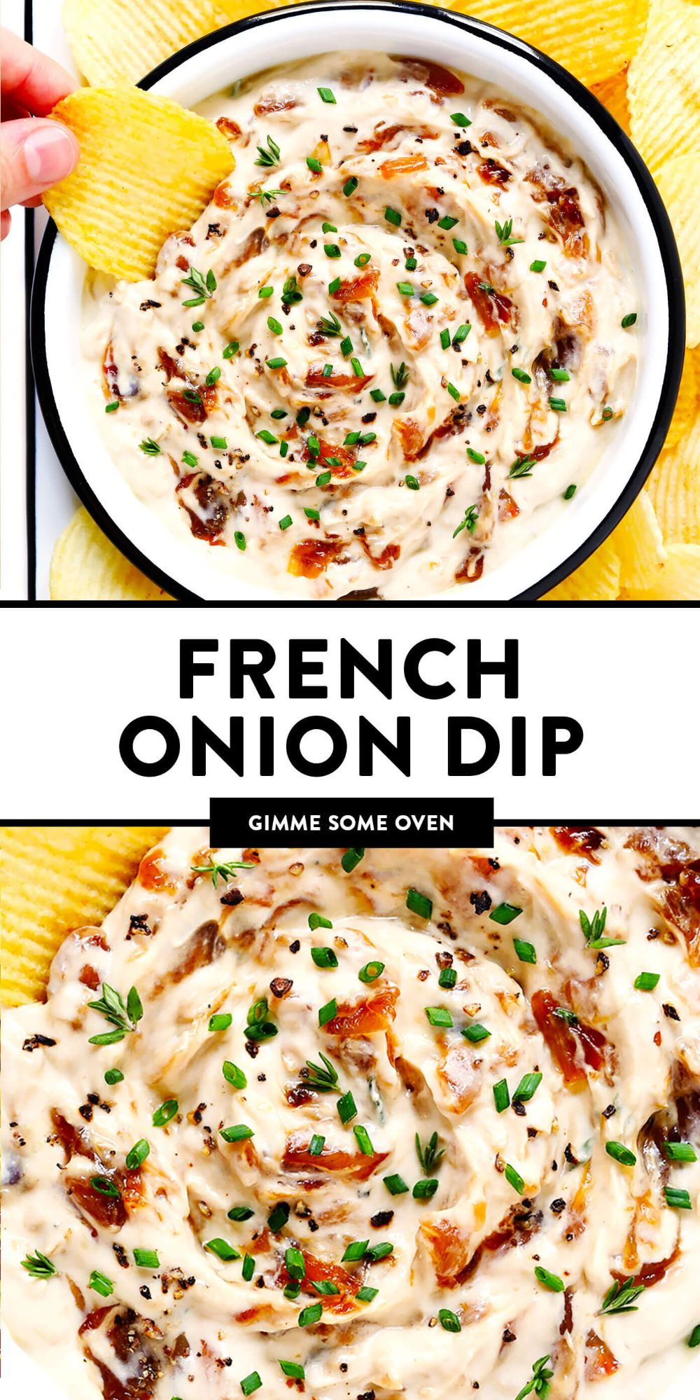 The BEST French onion dip recipe! It's creamy, savory, and a touch sweet (thanks to those delicious caramelized onions)...and downright irresistible. Serve it as a party appetizer, or use it as a spread for burgers, pizza and more! | gimmesomeoven.com #dip #appetizer #frenchonion #vegetarian #glutenfree #entertaining