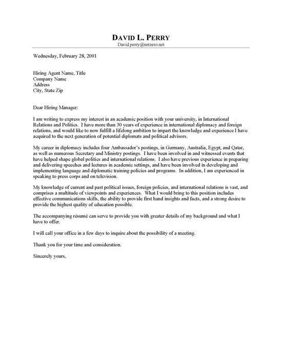 advisor cover letter